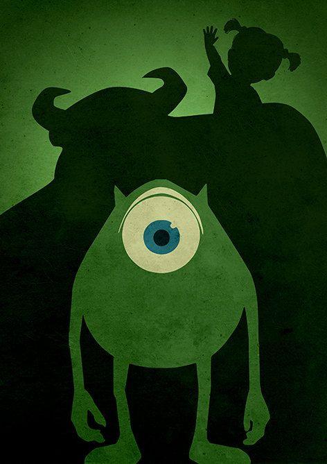 Walt Disney Pixar Monsters Inc. Minimalist Movie by moonposter