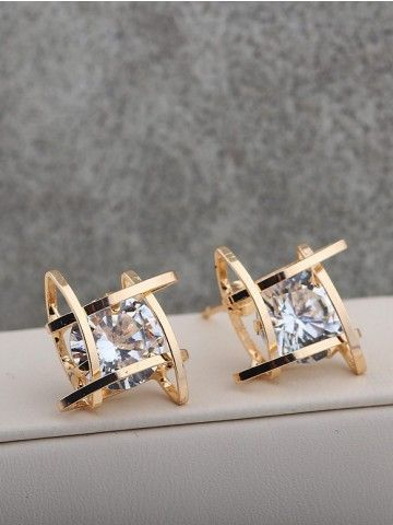 Golden Hollow Square Studs with American Diamond Stones
