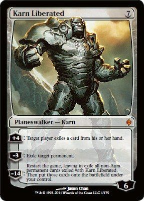 Magic: the Gathering - Karn Liberated - New Phyrexia by Wizards of the Coast. $30.49. From the New Phyrexia set.. This is of Mythic Rare rarity.. A single individual card from the Magic: the Gathering (MTG) trading and collectible card game (TCG/CCG).. Magic: the Gathering is a collectible card game created by Richard Garfield. In Magic, you play the role of a planeswalker who fights other planeswalkers for glory, knowledge, and conquest. Your deck of cards represents...