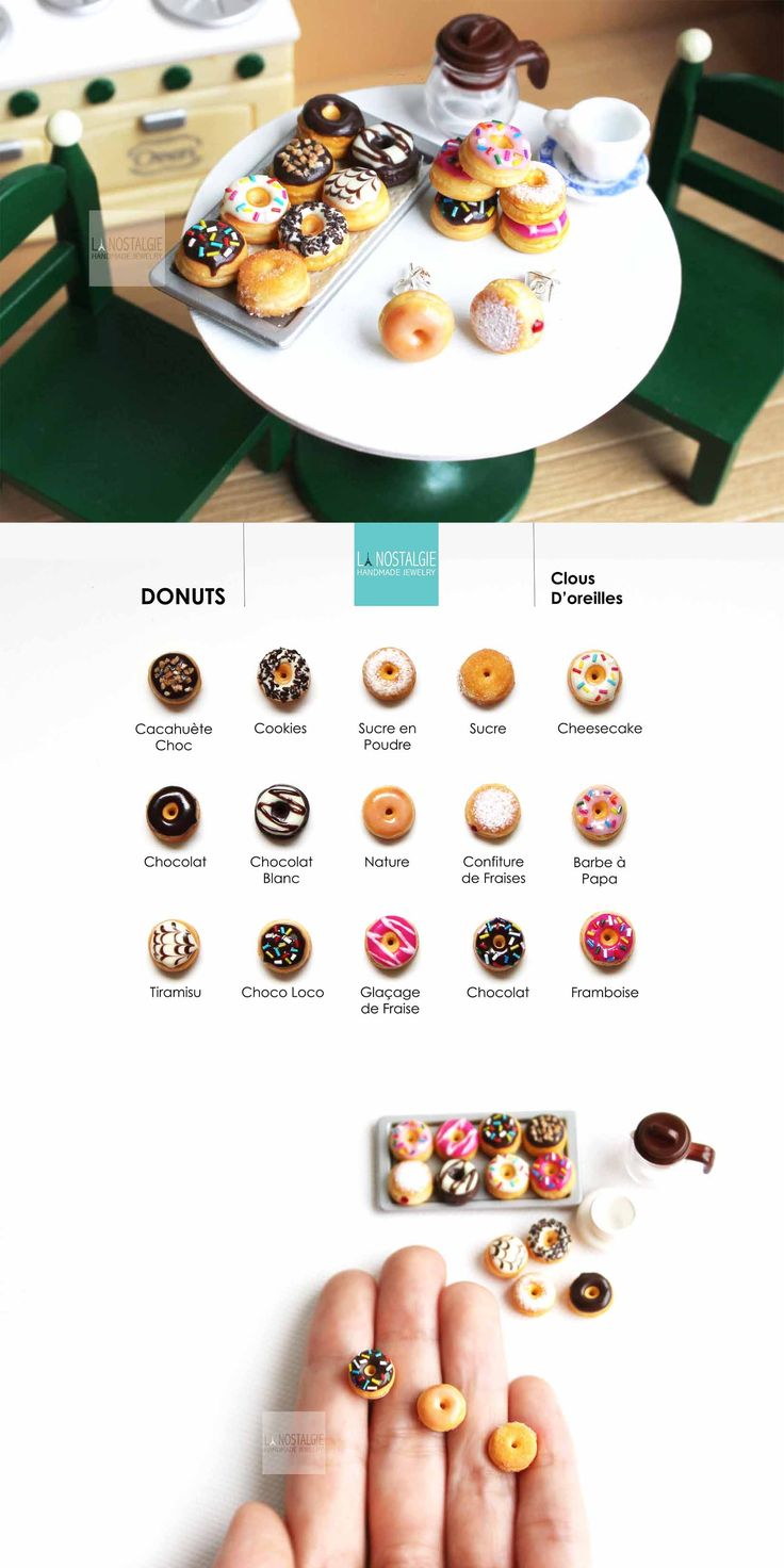 Donut earrings like you've never seen before! From glazed to sugar sprinkles, you can mix-and-match these ear studs. Miniature food jewelry exclusively at La Nostalgie. Bijoux donuts clous d'oreilles beignets aux fraises #SummerJewelryTrend #SummerEarrings #CuteJewelry
