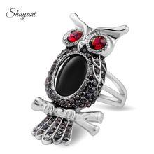 Jóias shuyani olhos do vintage coruja anéis para as mulheres homens acrílico preto prata/cor de ouro cristais austríacos atacado ynr1065-2(China)