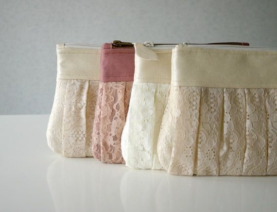 3 Bridesmaid lace clutch Ruched bags Pleated lace by HelloVioleta