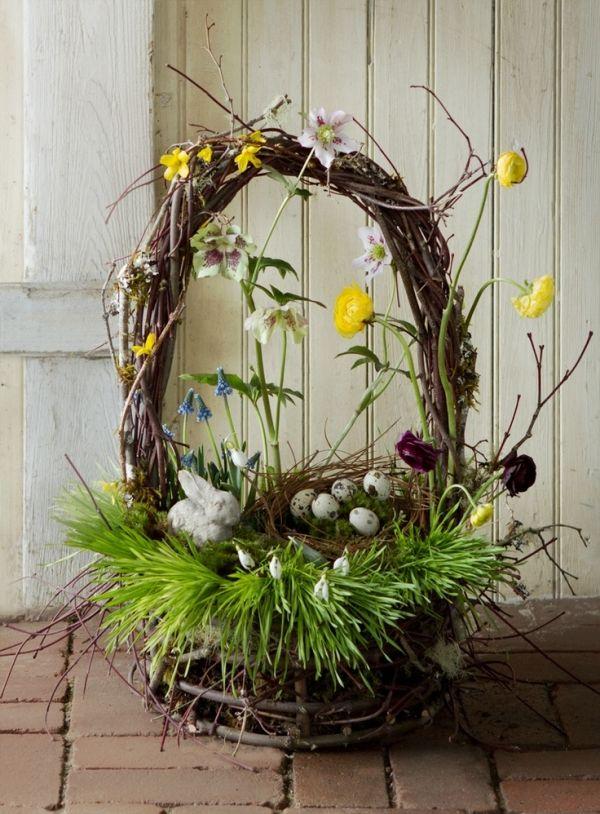 osterkörbe basteln natürlich-mit grass-osterhase figur frühlingsblümchen