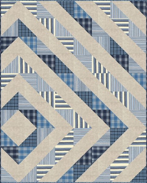 You've been asking for and now we have it for you--a free, downloadable  pattern for the Asymmetrical Diamond Quilt.  Inspired by Lisa Roddy's quilt on her blog, Shiner's View, we offer you a  variation using our Essex Linen, Kona Cotton and Classic Plaids/Stripes.  If you are new to making ha