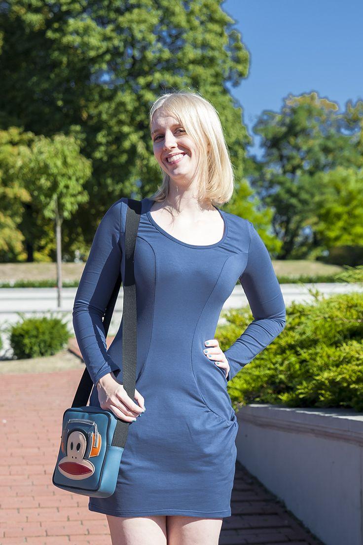 Urkye Kieska Dress with Pockets in Denim Blue