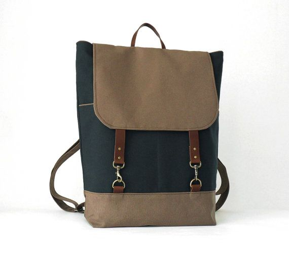 Navy and chocobrown canvas Tote / shoulder bag with by BagyBags