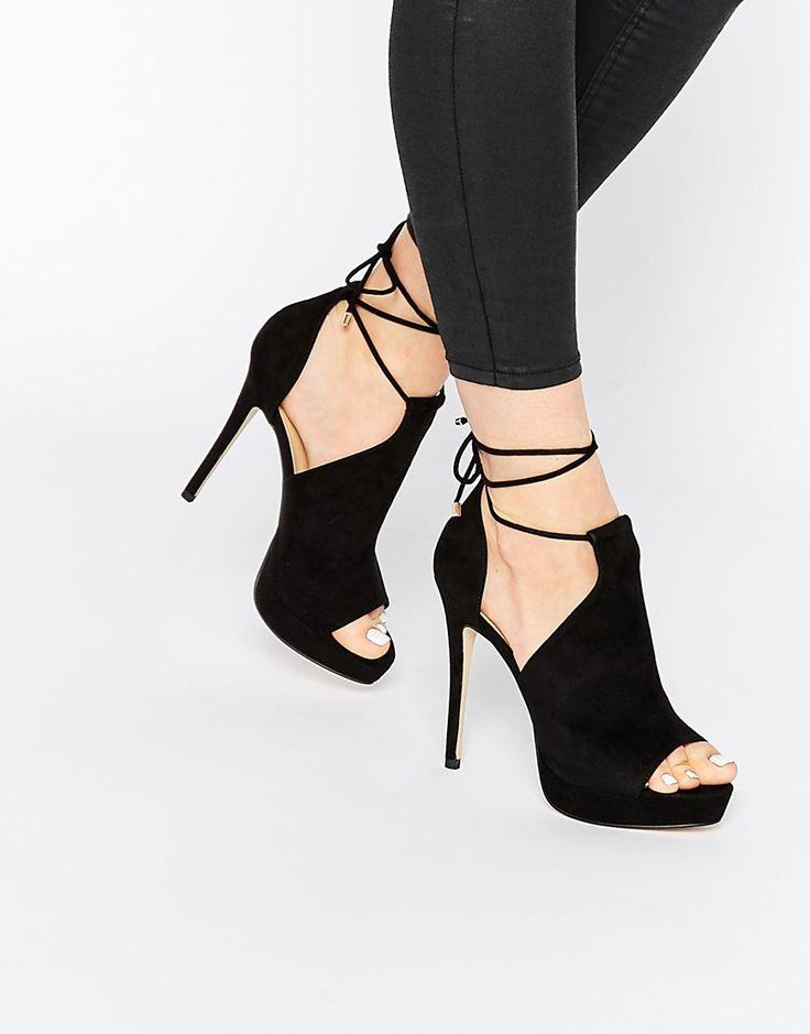 Image 1 ofALDO Tilley Black Ankle Lace Up Heeled Sandals