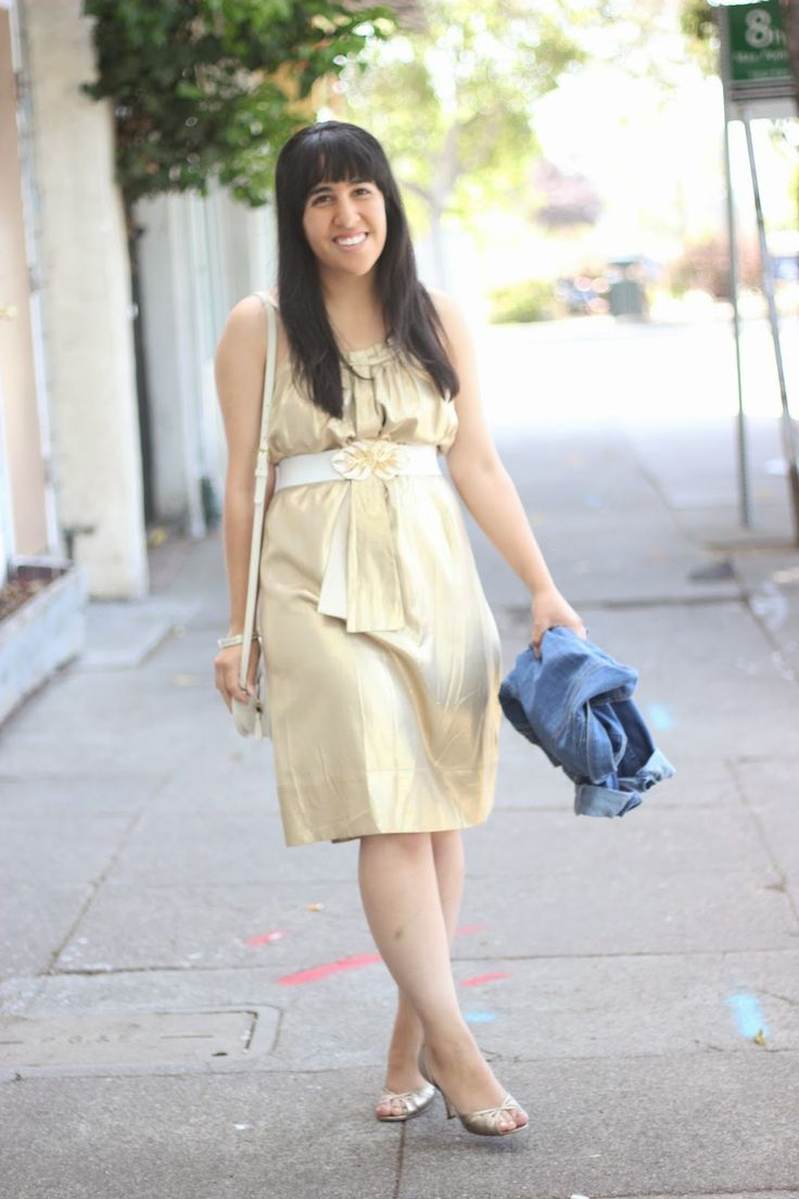 Gold @dvf  Metallic Summer Dress | 40 Days of DVF: Day 38 | Will Bake for Shoes @crossroadsstyle