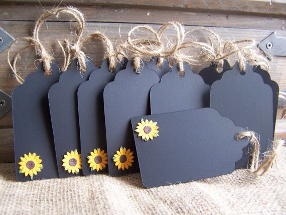 12 Chalk Gift Tags Sunflower Wedding or Parties by Sunflowersplus, $12.25