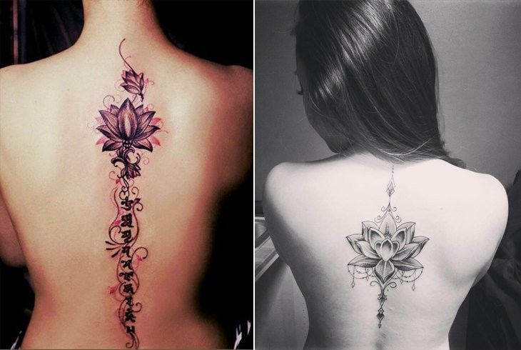 Delicate Lotus Spine Tattoo Spine Tattoos For Women Spine Tattoos Flower Spine Tattoos