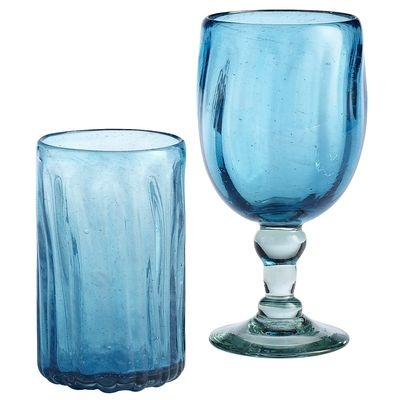 Aqua Chunky Optic Drinkware - These would go great with my new dinnerware (see prior pins!)