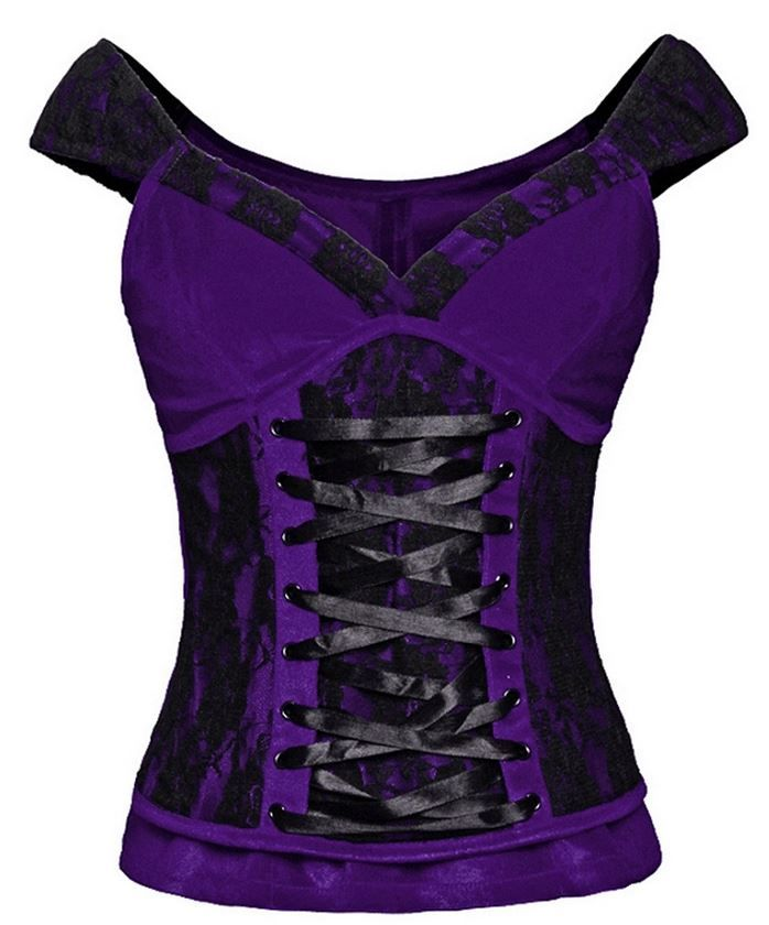 Lush purple velvet cap sleeved top with lace up design front and black lace panels imported.