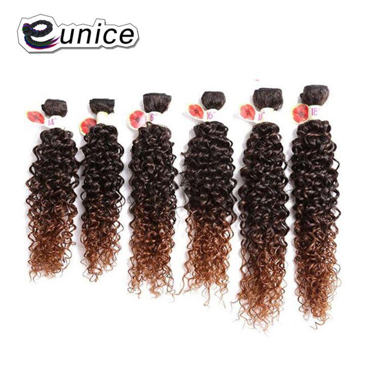 Kinky Curly Hair Weave Synthetic Bundles 100%High Temperature Fiber Hair Weaving 6PCS/LOT Natural Color T1b/30