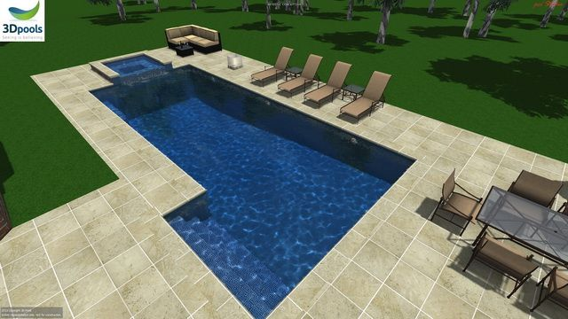Large modern family pool, with wide entry steps, sun deck area & 13m lap lane. Buy this pool design and many more stylish designs at www.3d-pools.com.au