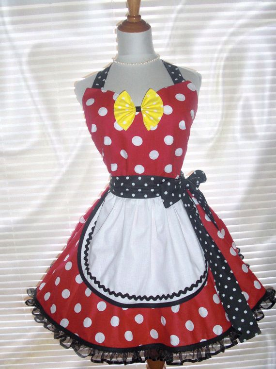 French Maid Apron Minnie Mouse Inspired Pin-up Retro Style Flirty Skirt Sweetheart Neckline
