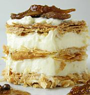 Mille-feuille with mastic cream and fig sauce (from the book Aromatic Cuisine) by Driskas Vangelis