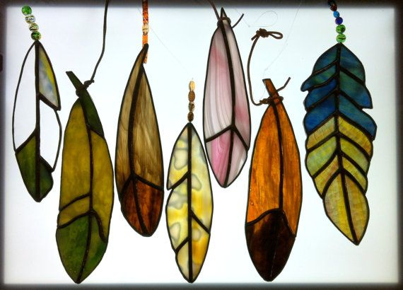 Stained Glass Feathers, Mottled Art Glass  by Sunbeam Glass Creations (9 Total, Priced 25-50 dollars)