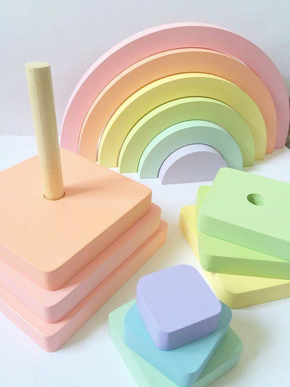 Apilador de arco iris de madera juguete de apilador apilador | Etsy