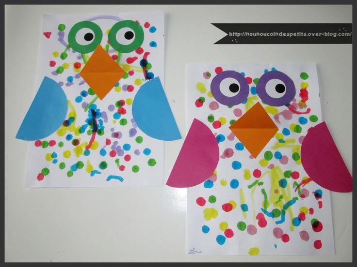 - aujourd'hui les loulous ont réalisé un hibou tout coloré a partir d'une feuille blanche A4 et avec les marqueurs peinture p'tit créa de chez oxybull ici : http://www.oxybul.com/loisirs-creatifs/dessin-et-peinture/peinture-et-accessoires/6-marqueurs-peinture-p-tit-crea/produit/310590...