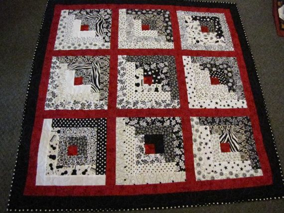 Log cabin black white and red lap quilt football for Black white and gray quilt patterns