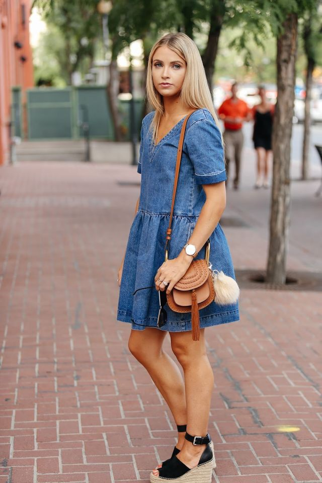 Denim dress.