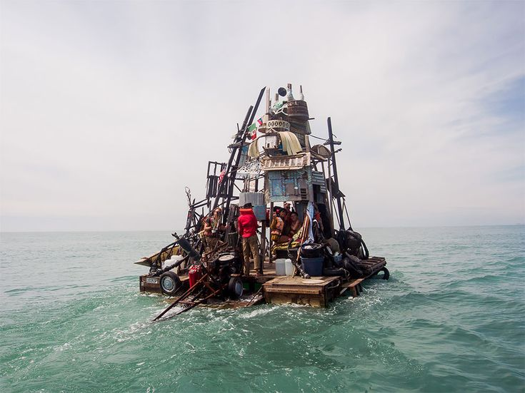 "In 2009, Brooklyn street artist Swoon and two dozen or so friends crashed the Venice Biennale contemporary art show in hulking rafts made from New York City garbage. Called the Swimming Cities of Serenissima, the boats looked like something out of the 1990s post-apocalyptic movies ""Tank Girl"" and ""Waterworld"""