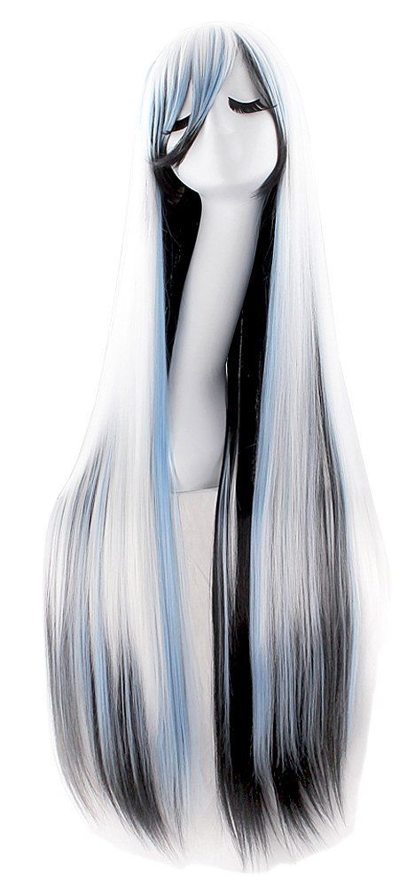 """Anime Long Straight-Anime Wig-40"""" Inch/ 100cm-Color-White/Blue/Black-Womens.  Imported: Takes up 20-25 days for arrival.  Material : 100% Top Kanekalon Fiber  Adjustable Monofilament Net  Length: 40"""" (100 cm)  Textile: Straight  Fits most all.  Please review shipping charges and det..."""