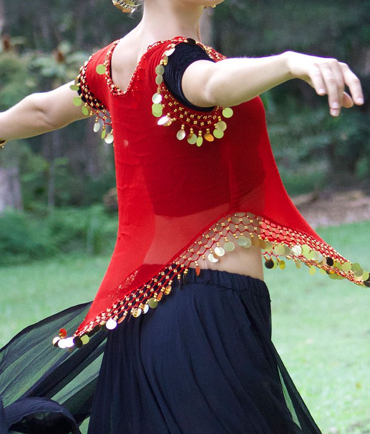 Three piece Bollywood Dance outfit bold red, gold and black