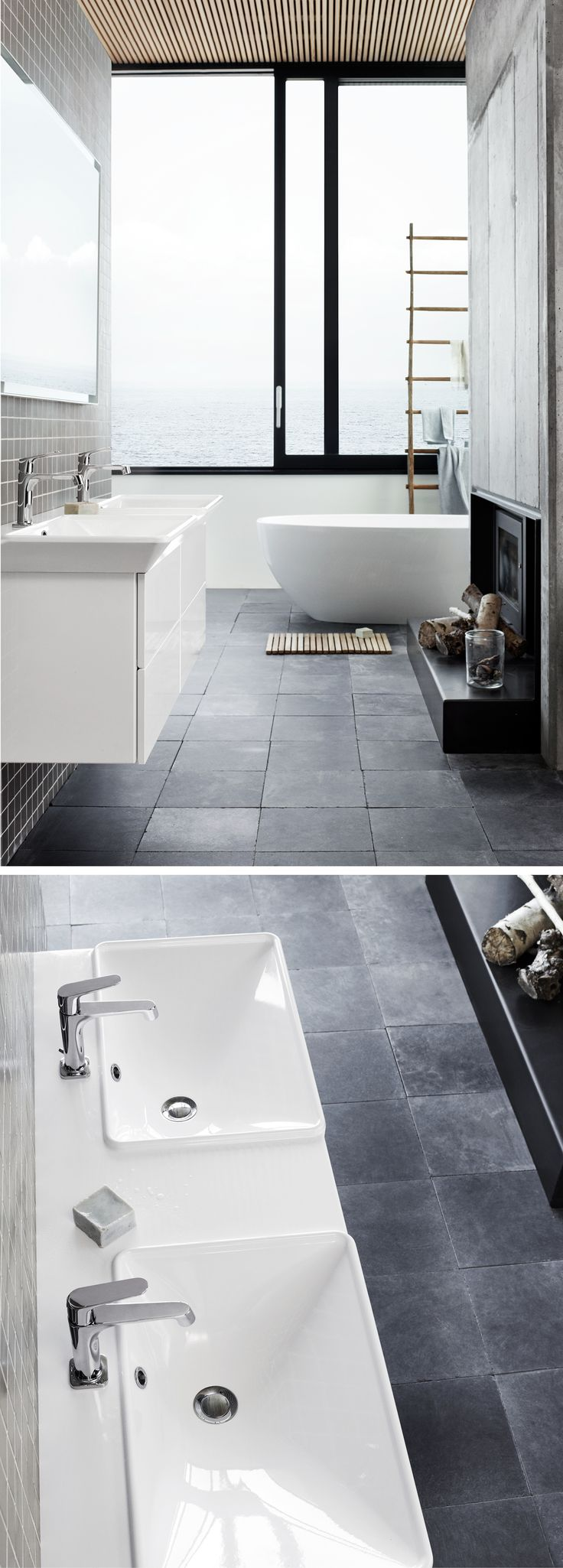 Double washbasin with soft curves and straight lines. An elegant and practical solution.