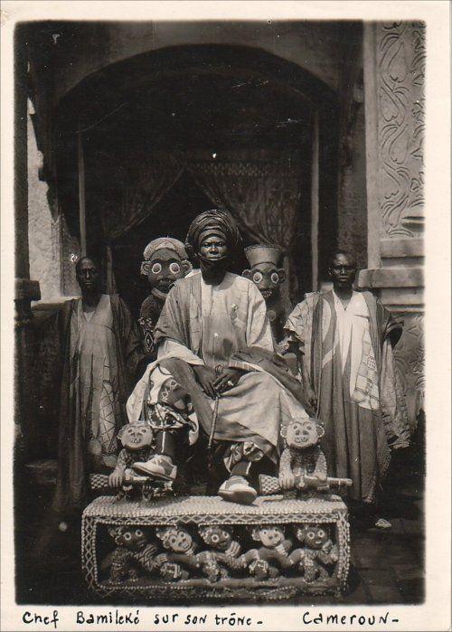 Africa    Bamum King Ibrahim Njoya on his throne. Foumban, western Cameroon, 1912.