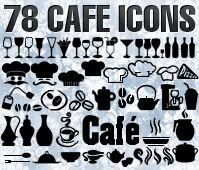 Cafe, restaurant icons, symbols