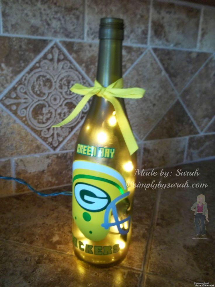 Green Bay Packers Wine Bottle light. #simplybysarah