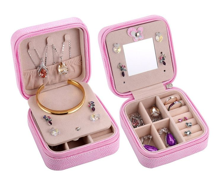 Jewelry Organizer, Csinos Portable Travel Jewelry Case Earring Holder Necklace Organizer Jewelry Case PU Leather Jewelry Organizer with Zipper (Pink)