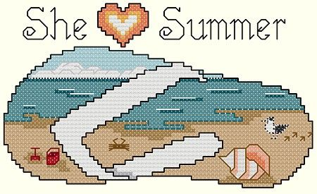 SHE HEART SUMMER * FLIP FLOP - CROSS STITCH BUT COULD ALSO DO ON PLASTIC CANVAS