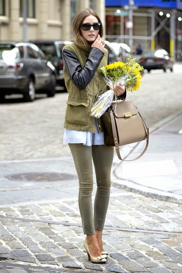 army green outfit by olivia palermo