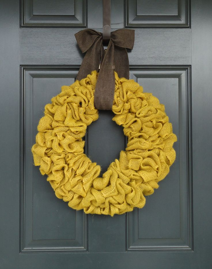 Mustard Yellow Burlap Wreath--Simple Burlap Wreath--Spring Burlap Wreath--Burlap Wreath by WhimsyChicDesigns on Etsy https://www.etsy.com/listing/178754108/mustard-yellow-burlap-wreath-simple