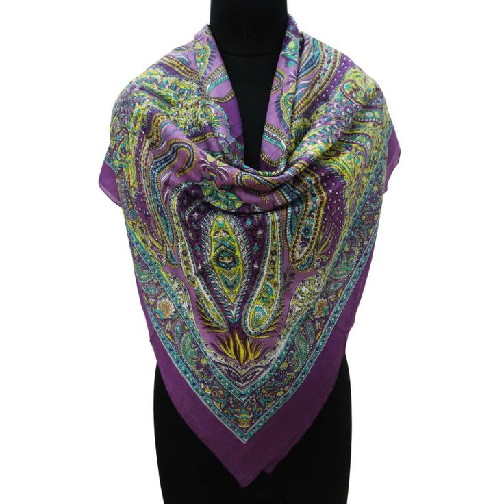 Pure Cotton Purple Soft Scarf Floral Beach Summer Stole Neck Women Wrap Scarves  ..this is img