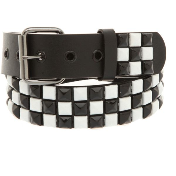 Black And White Checkered Pyramid Stud Belt | Hot Topic (£6.11) found on Polyvore
