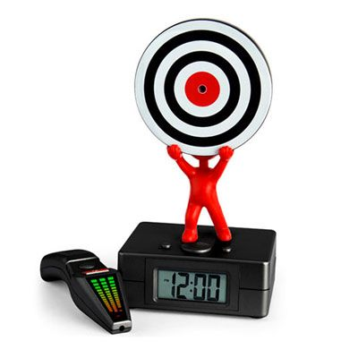 For you heavy sleeps -  improve your hand-eye coordination while still half asleep!  When the alarm on the Laser Target clock sounds, ex-sleepers must hit the bull's eye with a handheld laser remote to silence it.