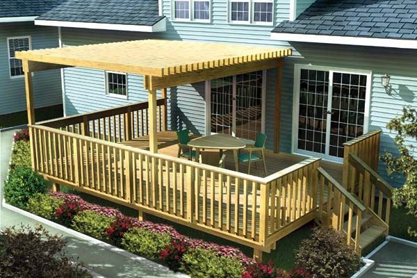 Simple Deck Plans | 30-90003 - Large Easy Raised Deck with Trellis construction plans ...