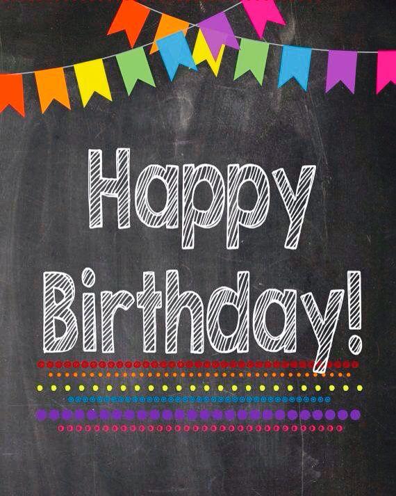Happy B-Day chalkboard card