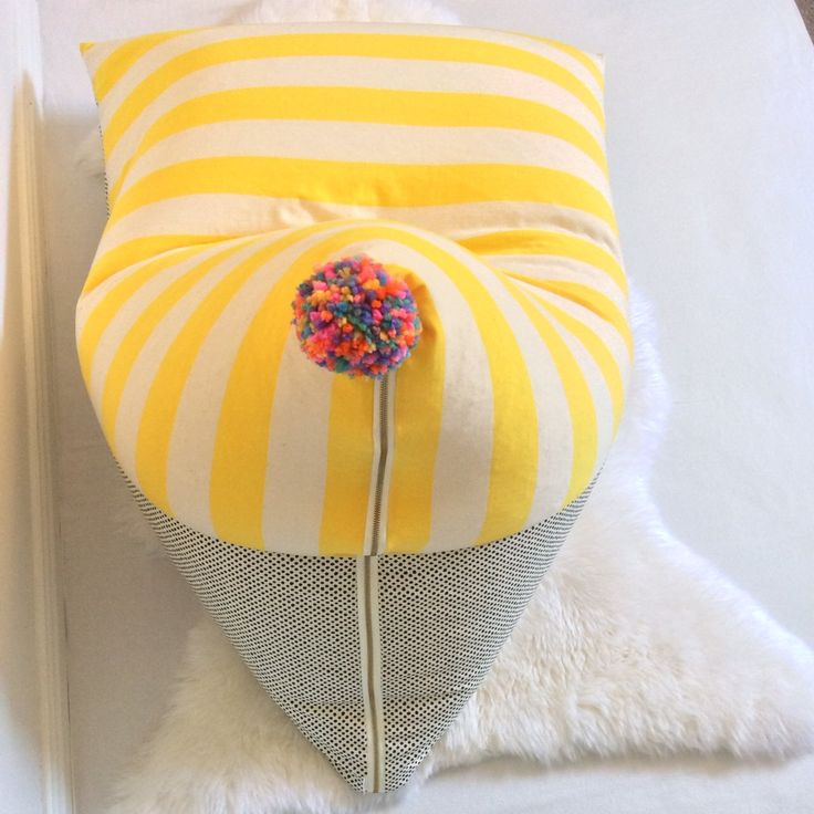 ^..^ Hand made kids size Pom Pom Bean Bag ^..^ Stretch Jersey/Cotton ^..^ Item for sale is bean bag cover only ^..^ Safety zip attached ^..^...