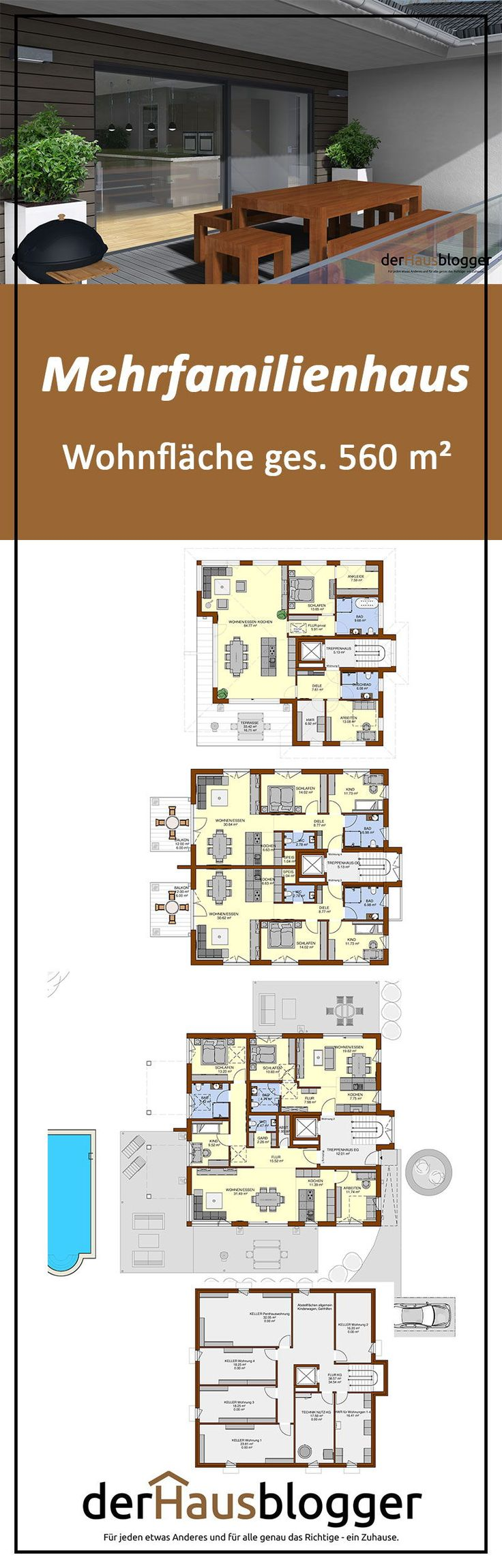 Mehrfamilienhaus 560m² Penthouse wohnung, Familien haus