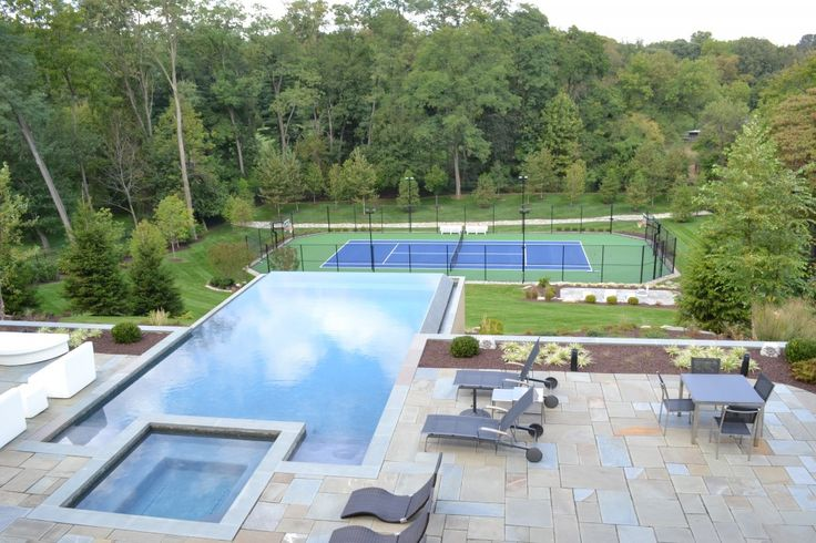 stunning of best backyard pools design with beaoutiful landscape and tennis court design