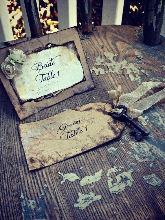 Rustic Wedding Tent Card Place card escort card by ShabbyScrap, $3.00