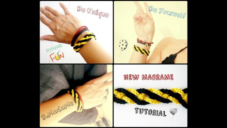 DIY jewelry macrame tutorial. How to make macrame snake braid bracelet with cross stitch threads