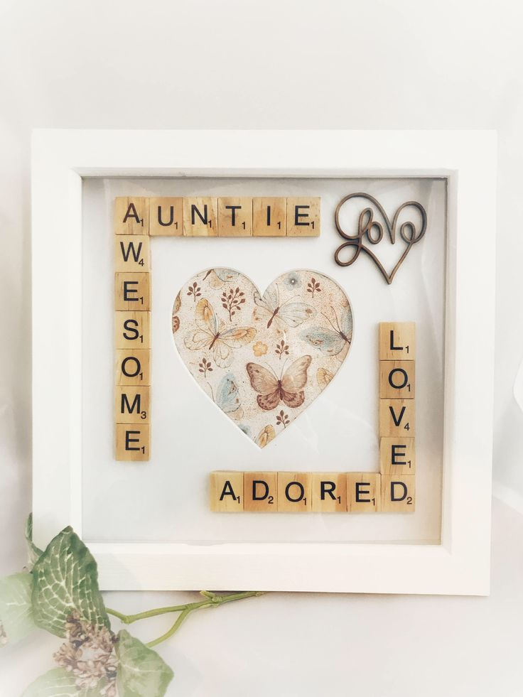 Awesome Auntie Scrabble Photo Box Frame Gift Idea. Auntie Gift Aunt Gift Aunty Gift. Photo Frames For Aunties #scrabble #scrabbleboxframe #awesomeauntie #auntiegift #auntiephotoframe