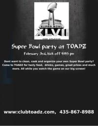 Sunday, February 3rd, 2013 TOADZ 432 N. 100 W.  Cedar City  Utah 84721
