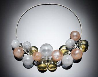 Collana in vetro soffiato bolla metallici mare verde, blu, argento e terracotta accenti. Stupendo è ossidato argento. Specificare 16 o 18 lunghezza.
