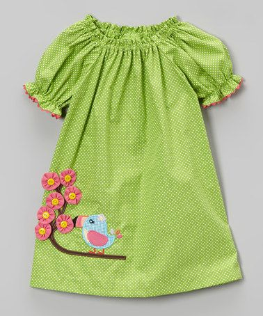 Look what I found on #zulily! Green Toucan Bishop Dress - Infant, Toddler & Girls by Stellybelly #zulilyfinds